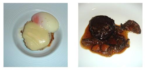 Migas de perdiz con huevo mollet y crema de tupinambur & Rabo de toro, perigourdine y rovellons