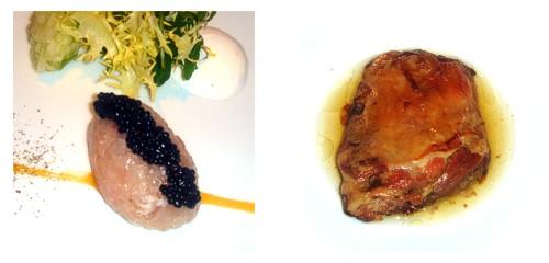 Tartar de lubina con caviar de arenque & Espaldita de cordero