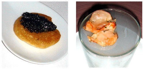 Blini de caviar con grasa de ibérico & Langosta ahumada al momento