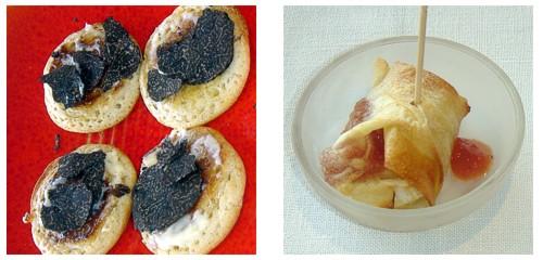Blinis con trufa negra & Hojaldre de queso de cabra y membrillo