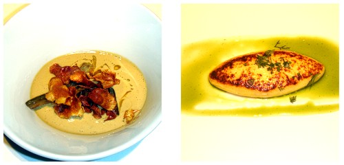 Royal de alcachofas con foie-gras & Tortilla de caviar ahumado