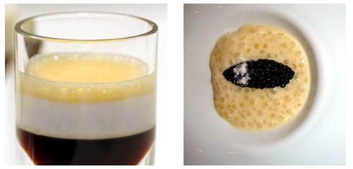 Chupito Cinc Sentits & Crema de coliflor con caviar de arenque
