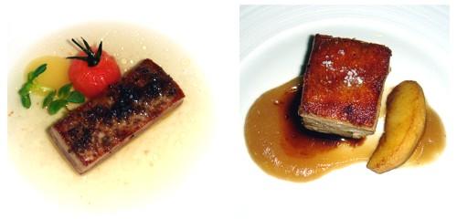 Atún con caldo de tomate ahumado & Cochinillo ibérico con manzana en dos texturas