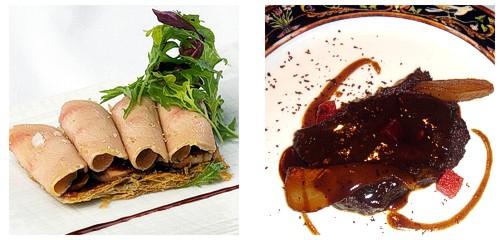 Coca de foie y manzana caramelizada & Terrina de liebre a la royale con manzana y membrillo