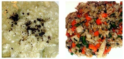 Risotto de alcachofas y café & Arroz coreano con verduritas y vieira