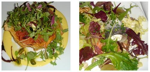 Cajita de salmón con aceite de pistachos & Ensalada de col, arenques y mascarpone