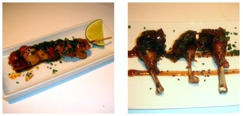 Yakitori de pollo  &  Muslitos de codorniz