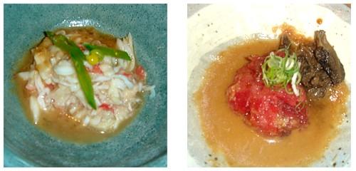 Cangrejo real con erizo de mar & Tartar de atún con colmenillas