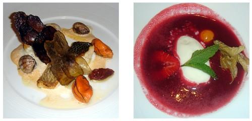 Suquet de peix 2009  &  Sopa de frutos rojos y helado de champagne
