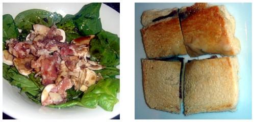 Ensalada de espinacas, champiñones y bacon & Biquini de jamón a las dos trufas