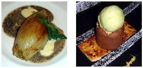 Endivias rellenas de foie  &  Coulant de chocolate con helado de té Matcha
