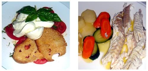 Mozzarella de bufala con tomate y albahaca  &  Lubina a la plancha