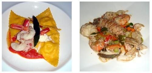 Raviolis de ricotta y gambas  &  Pescado del Tirreno