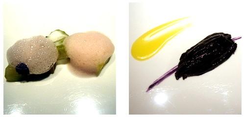 Ensalada de pepino-melón  &  Hebras de berenjena asada