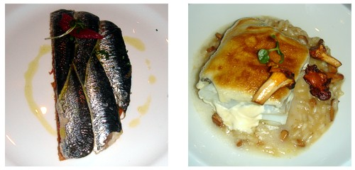 Coca de sardinas (media ración)  &  Bacalao confitado y su muselina