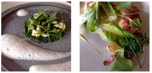 Espinacas con té, cebolla y apio  &  Ensalada de langosta con rosas