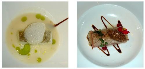 Bacalao con aire de jengibre  &  Sashimi de atún con tartar de vieiras