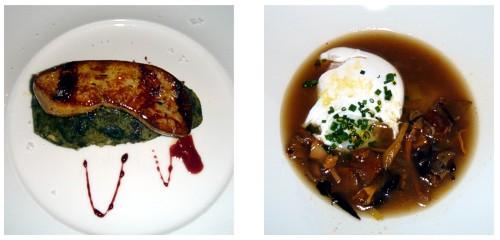 Foie con trinxat de la Cerdanya  &  Sopa de setas con huevo poché