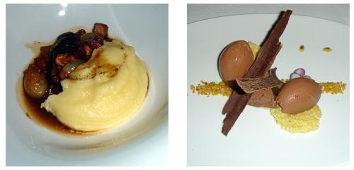 Civet de setas y cebollitas con parmentier  &  Chocolate-Pistacho-Pasión