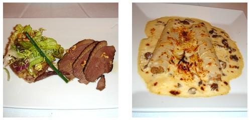 Ensalada de pato  &  Mini-canelones con bechamel de moixernons