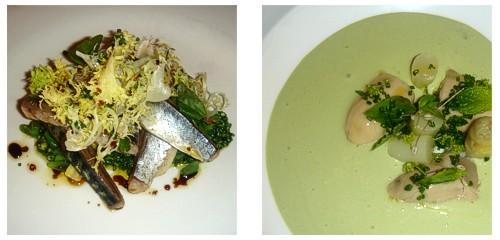 Jurel con pesto de espinacas y aguacate  &  Ostra Gillardeau con vichyssoise de hierbas
