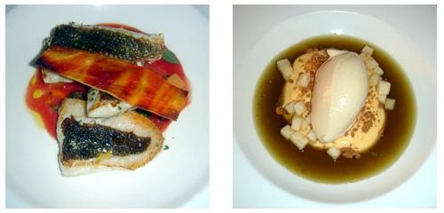 San Pedro con tomate y mozzarella  &  Sorbete de pera con sorbete de maría luisa