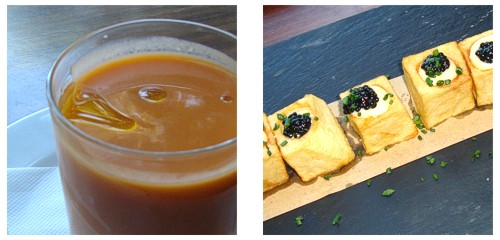 Gazpacho  &  Patatas con alioli y huevas de arenque