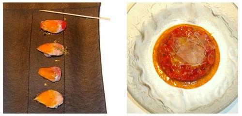 Pechugas de codorniz con escabeche de zanahoria  &  Tartar de tomate con cristal helado
