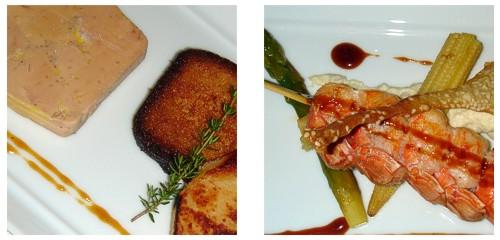 Foie-gras de pato con bizcocho a la miel  &  Brocheta de langostinas asadas