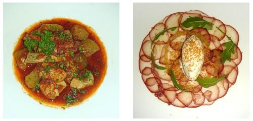 Marmitako de bonito  &  Carpaccio de peras al vino