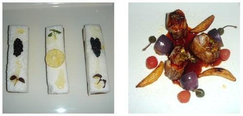 Sardinas con caviar de l'Aquitaine  &  Cordero del Aveyron