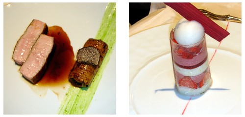 Chuleta de ternera con linguini de trufa  &  Transparence aux fraises
