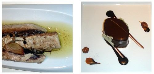 Bonito en escabeche tibio  &  Bombón de chocolate negro y vainilla