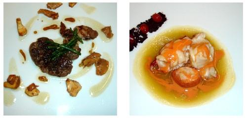 Castañuelas con setas y salicornia  &  Bogavante con sopa de aceite