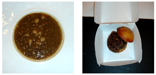 Royal de lentejas con foie  &  Minihamburguesa de liebre