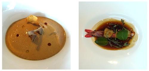Royal de alcachofas y foie  &  Gamba a la brasa