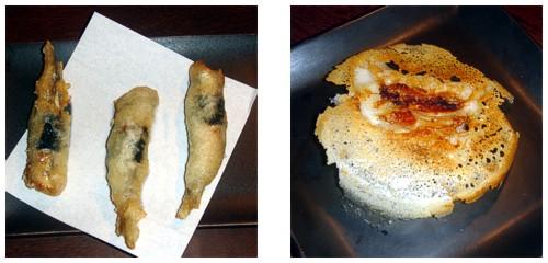 Tempura de boquerones rellenos de umeboshi  &  Empanadillas de cerdo