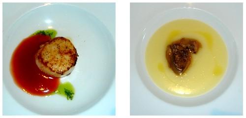 Vieira con tomate  &  Foie con parmentier