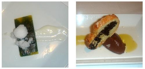 Carpaccio de piña y albahaca  &  Pa amb oli i xocolata