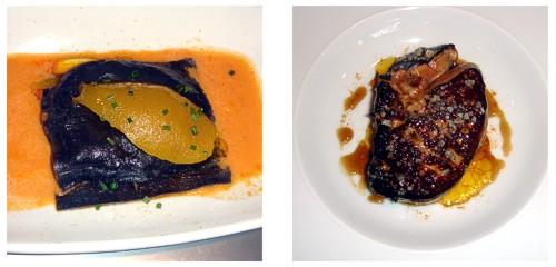 Lasaña de morcilla  &  Foie, plátano, ron, curry