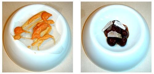 Caramelo con txangurro  &  Potaje de avellanas