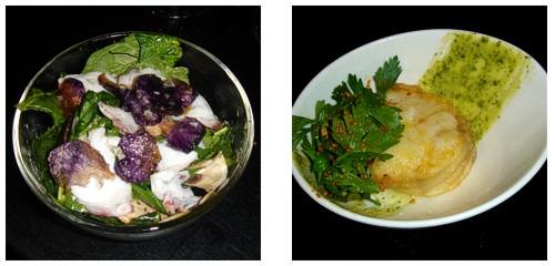 Ensalada de espinacas y pulpo  &  Merluza con ajo y perejil