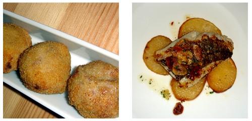 Croquetas melosas de jamón  &  Merluza con patatas panadera