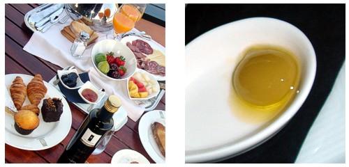 Desayuno en la terraza de la habitación  &  Esferificación de aceitunas