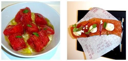 Ensalada de tomate 'feo'  &  Salmón marinado