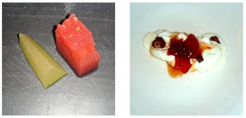 Melón al cava y sandía al vodka  &  Mató helado con confitura de tomate