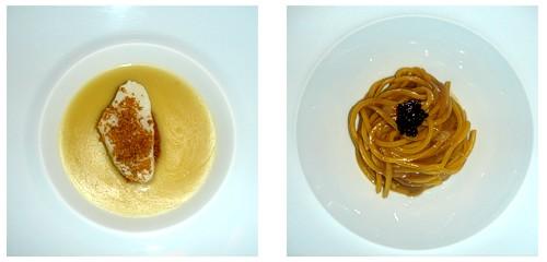 Bacalao con jugo de aceitunas  &  Spaghetti con caviar