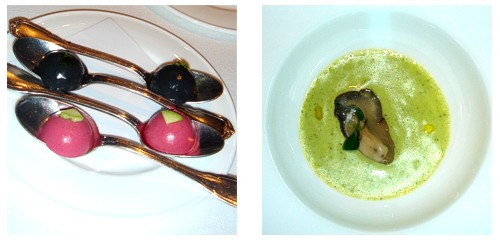 Cremosos de remolacha y tinta de calamar &  Ostra con pepino