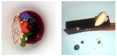 Milhojas de mascarpone y frutos tojos  &  Pastel de chocolate