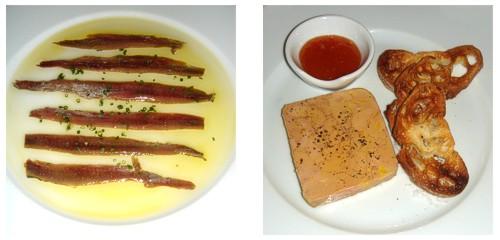 Anchoas con pan de cristal  &  Terrina de foie-gras de pato